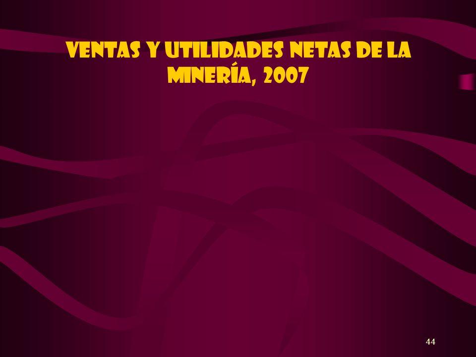 44 Ventas y utilidades netas de la minería, 2007