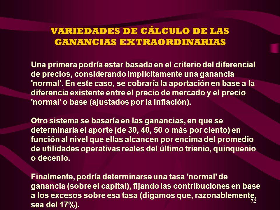 72 VARIEDADES DE CÁLCULO DE LAS GANANCIAS EXTRAORDINARIAS Una primera podría estar basada en el criterio del diferencial de precios, considerando impl
