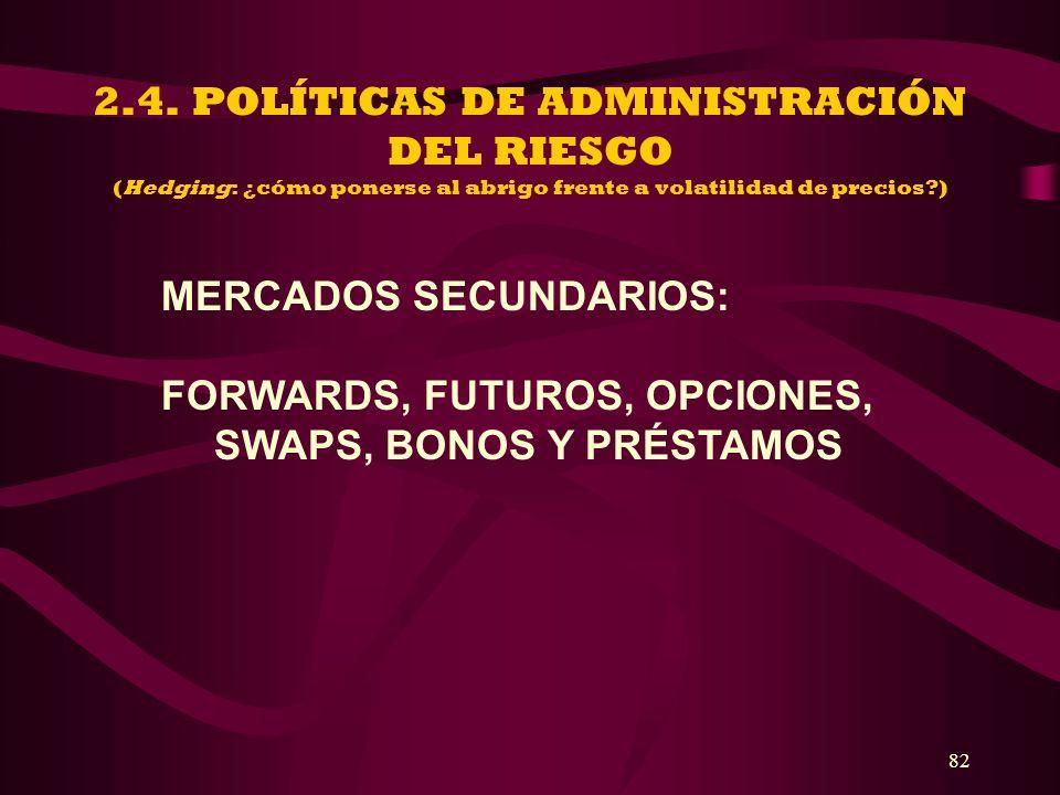 82 2.4. POLÍTICAS DE ADMINISTRACIÓN DEL RIESGO (Hedging: ¿cómo ponerse al abrigo frente a volatilidad de precios?) MERCADOS SECUNDARIOS: FORWARDS, FUT