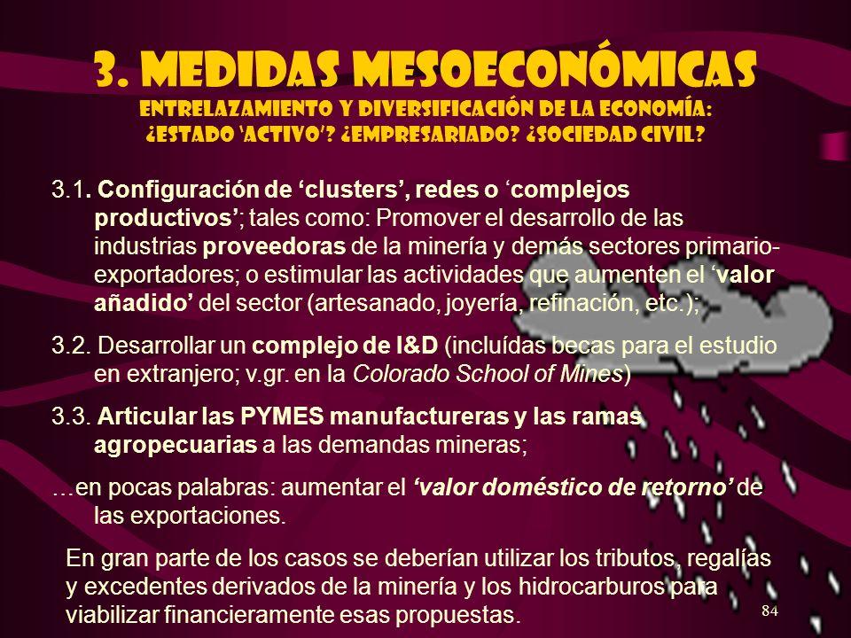 84 3. Medidas mesoeconómicas ENTRELAZAMIENTO Y DIVERSIFICACIÓN DE LA ECONOMÍA: ¿Estado activo? ¿EMPRESARIADO? ¿SOCIEDAD CIVIL? 3.1. Configuración de c