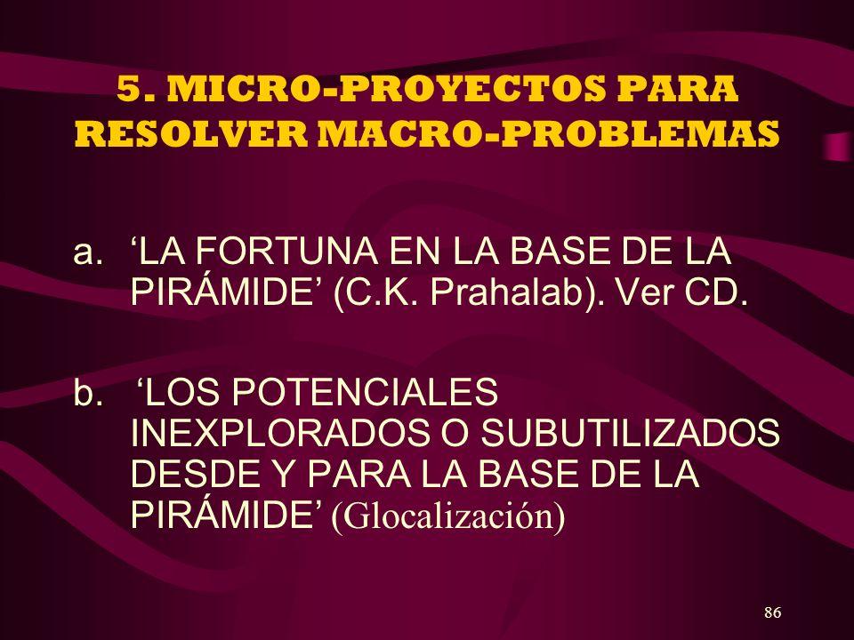 86 5. MICRO-PROYECTOS PARA RESOLVER MACRO-PROBLEMAS a.LA FORTUNA EN LA BASE DE LA PIRÁMIDE (C.K. Prahalab). Ver CD. b. LOS POTENCIALES INEXPLORADOS O