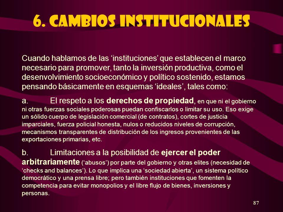 87 6. Cambios institucionales Cuando hablamos de las instituciones que establecen el marco necesario para promover, tanto la inversión productiva, com