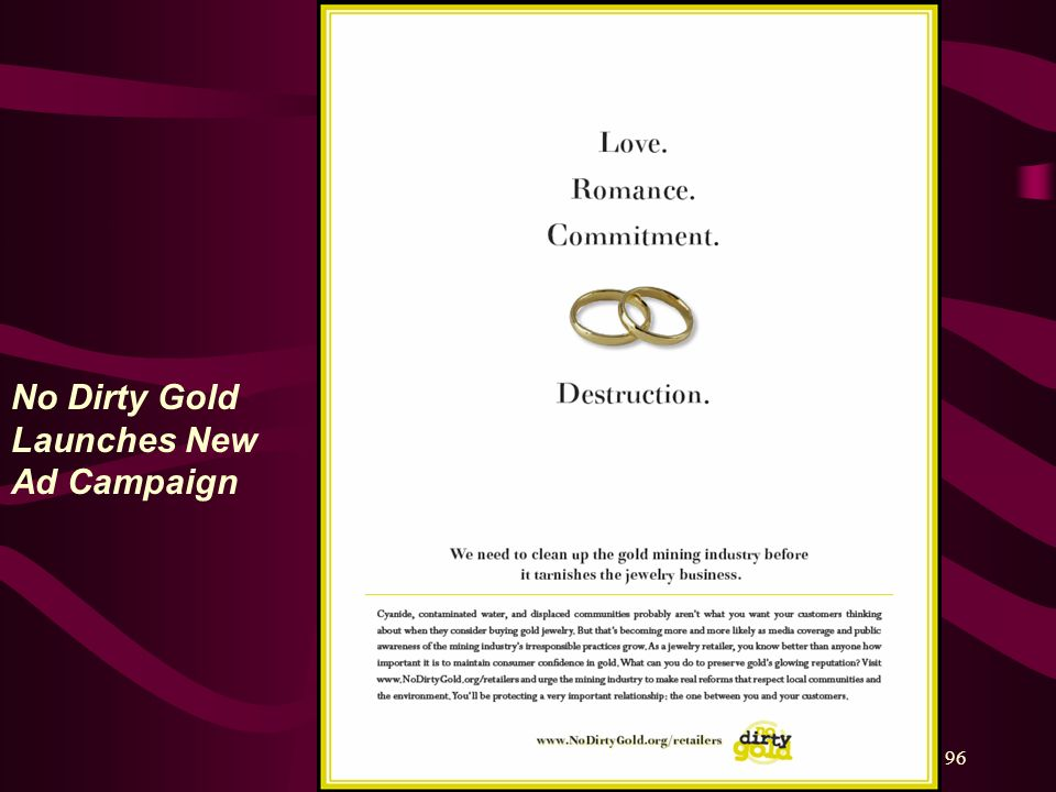 96 No Dirty Gold Launches New Ad Campaign