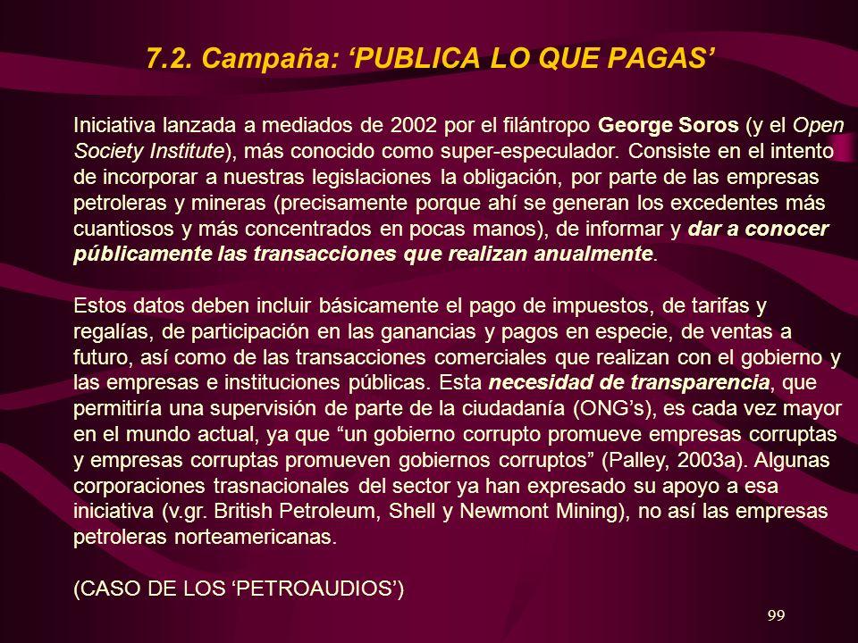 99 7.2. Campaña: PUBLICA LO QUE PAGAS Iniciativa lanzada a mediados de 2002 por el filántropo George Soros (y el Open Society Institute), más conocido