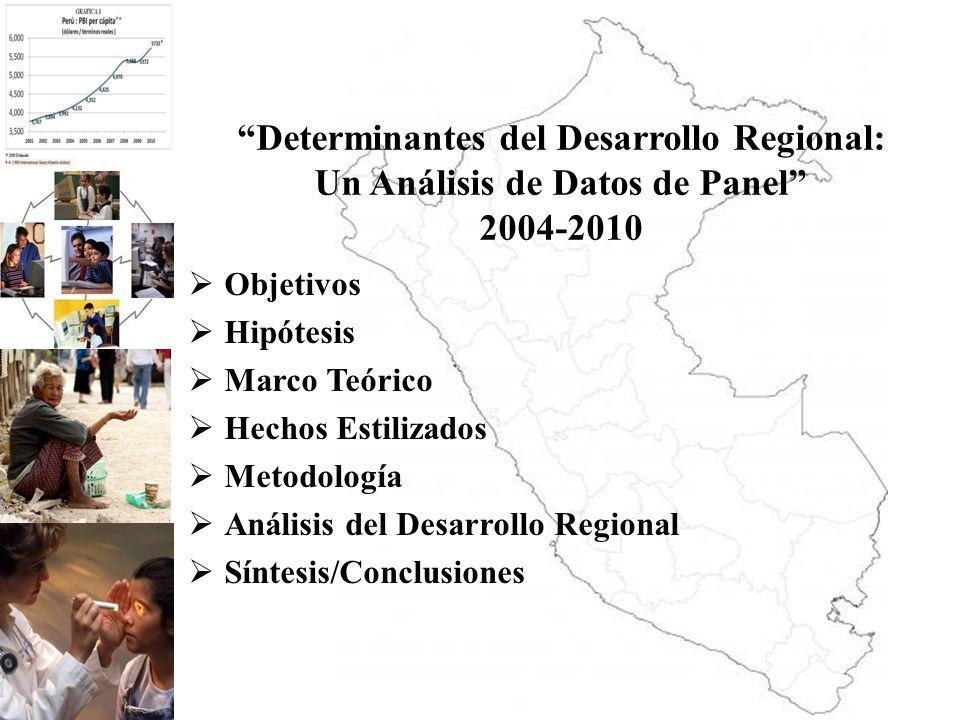 OBJETIVOS OBJETIVO GENERAL Determinar y evaluar el Desarrollo Regional de las 24 regiones del Perú durante el período 2004-2010 a través de un análisis de Datos de Panel.