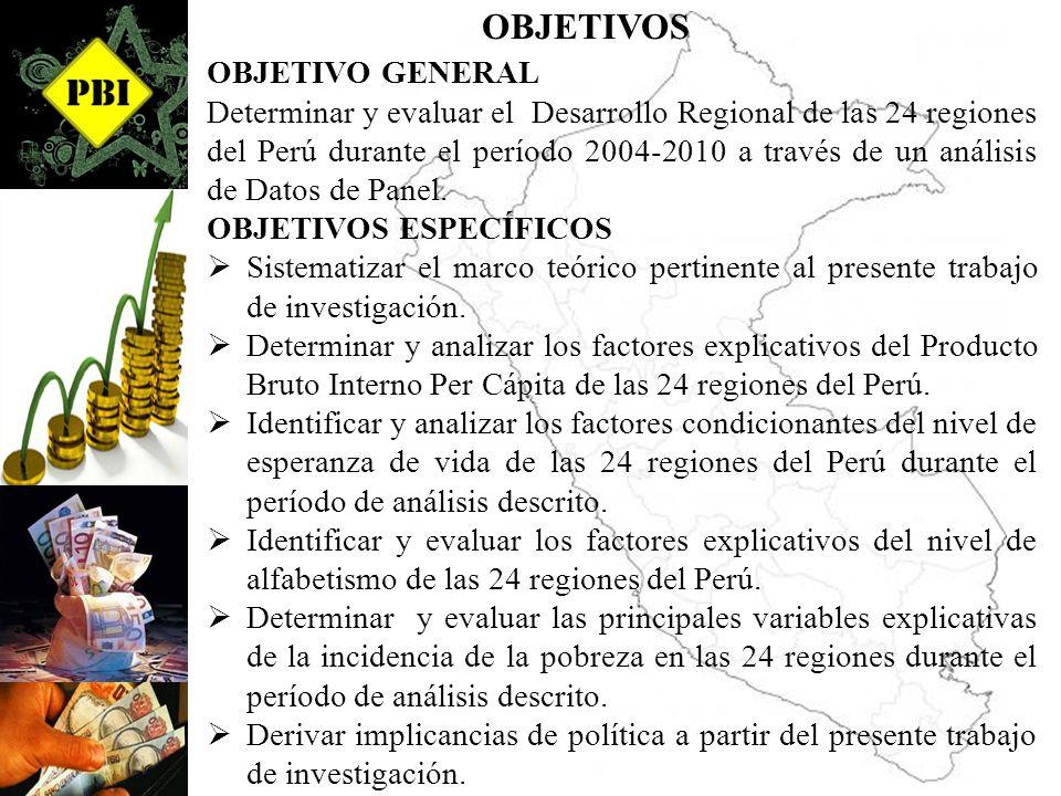 OBJETIVOS OBJETIVO GENERAL Determinar y evaluar el Desarrollo Regional de las 24 regiones del Perú durante el período 2004-2010 a través de un análisi
