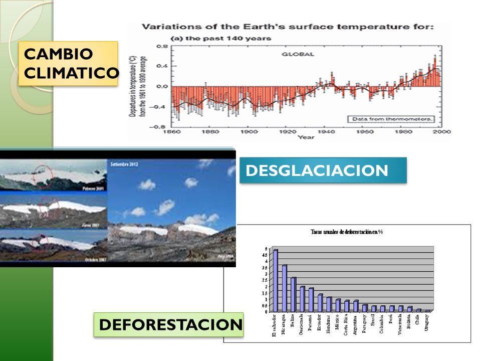 CAMBIO CLIMATICO CAMBIO CLIMATICO DEFORESTACION DESGLACIACION