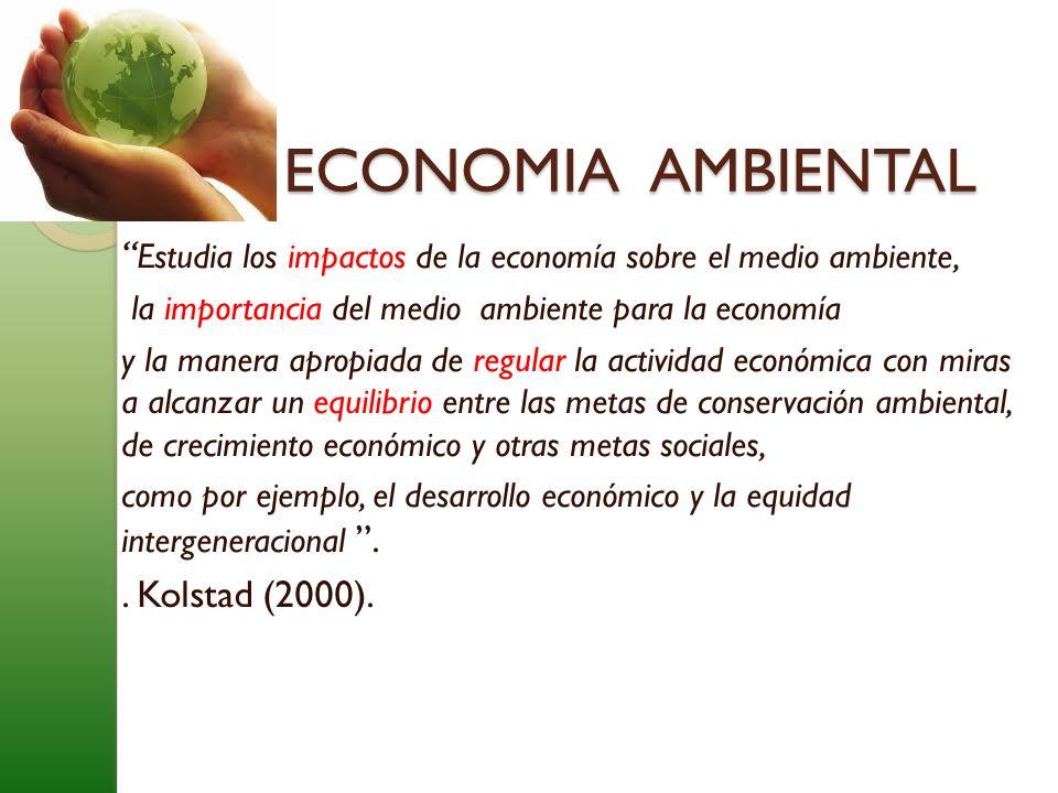 Estudia los impactos de la economía sobre el medio ambiente, la importancia del medio ambiente para la economía y la manera apropiada de regular la ac