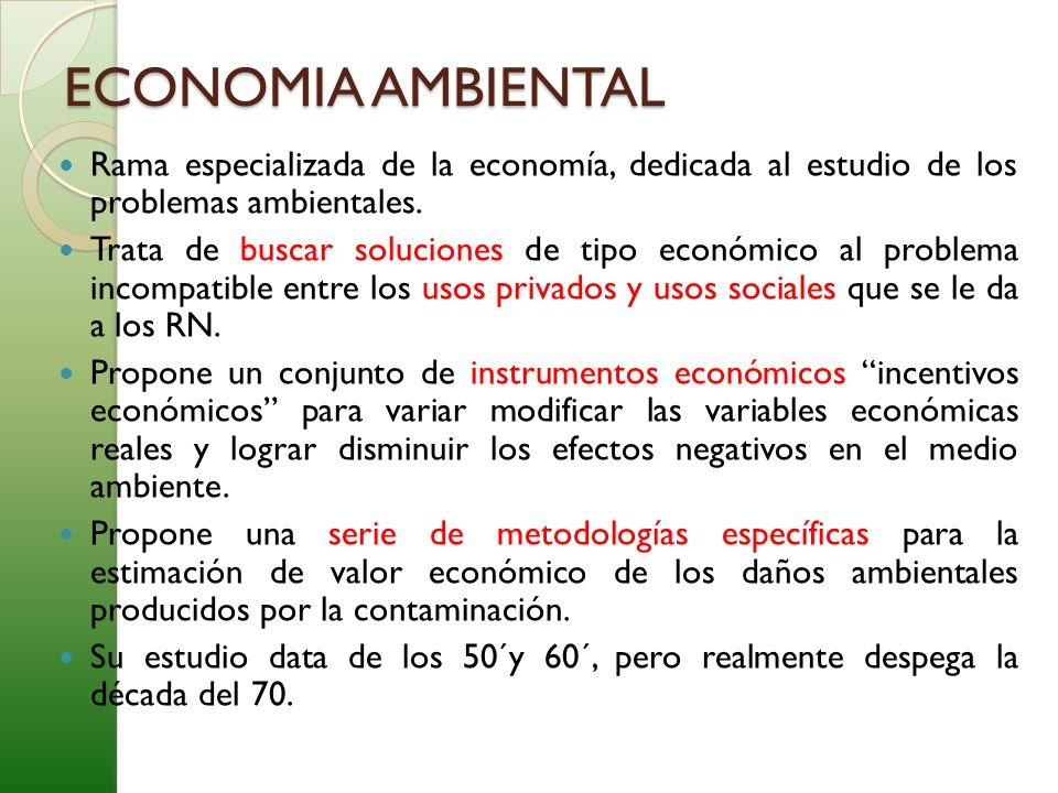 Rama especializada de la economía, dedicada al estudio de los problemas ambientales. Trata de buscar soluciones de tipo económico al problema incompat