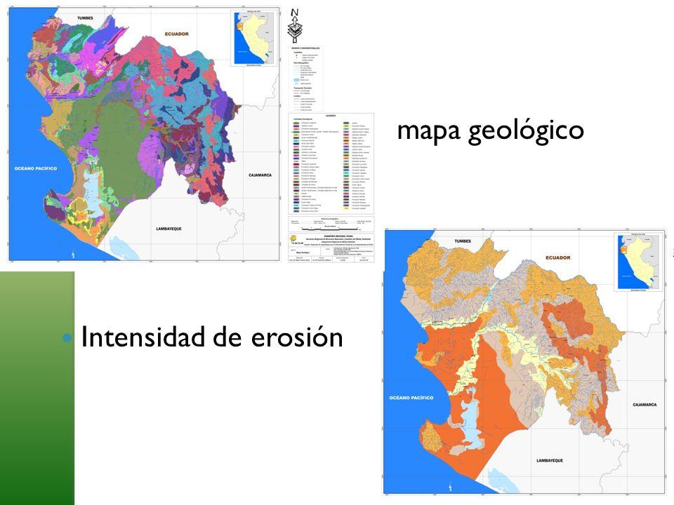 mapa geológico Intensidad de erosión