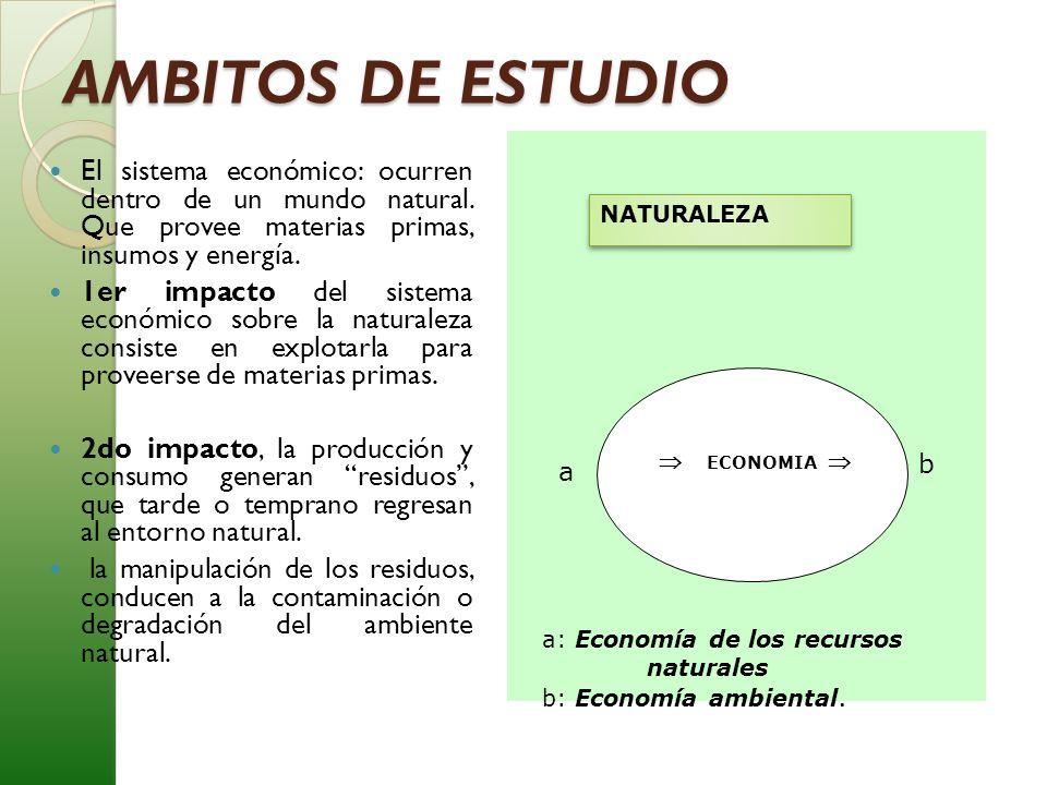 AMBITOS DE ESTUDIO El sistema económico: ocurren dentro de un mundo natural. Que provee materias primas, insumos y energía. 1er impacto del sistema ec