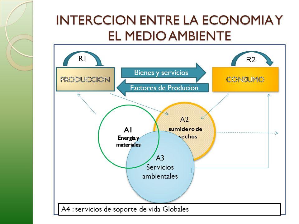 INTERCCION ENTRE LA ECONOMIA Y EL MEDIO AMBIENTE Bienes y servicios Factores de Producion R1 R2 A2 sumidero de desechos A2 sumidero de desechos A3 Ser