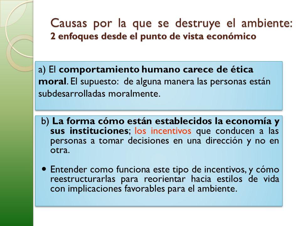Causas por la que se destruye el ambiente: 2 enfoques desde el punto de vista económico a) El comportamiento humano carece de ética moral. El supuesto