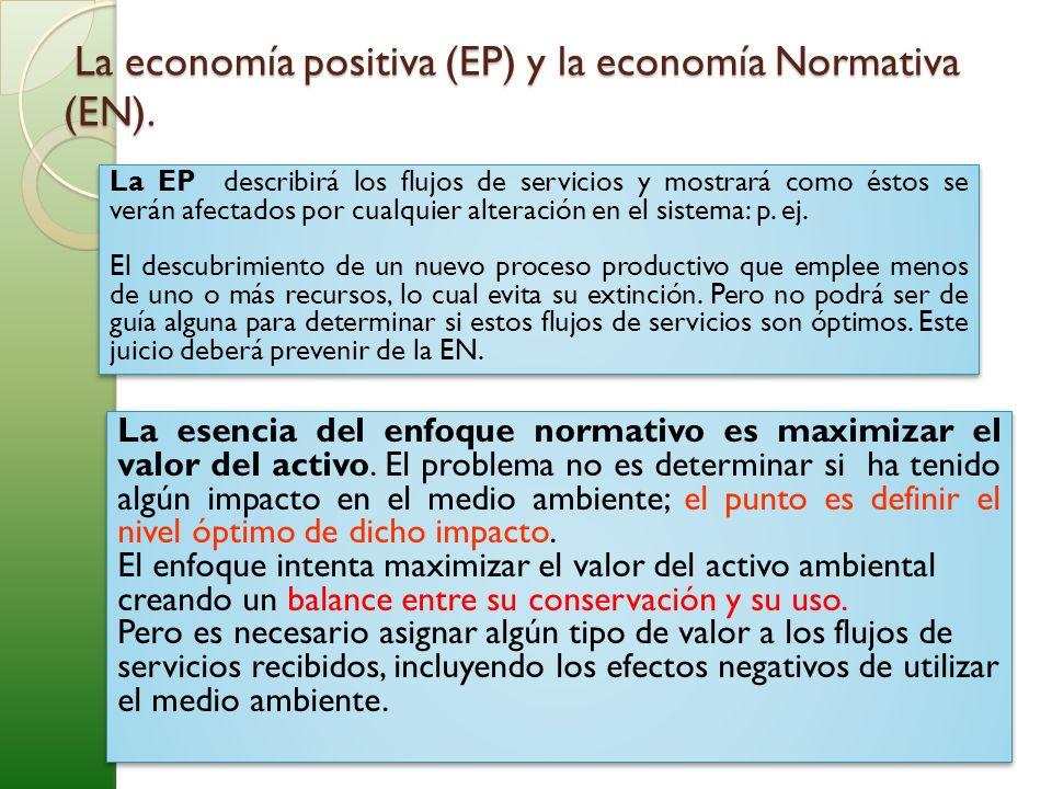 La economía positiva (EP) y la economía Normativa (EN). La economía positiva (EP) y la economía Normativa (EN). La EP describirá los flujos de servici