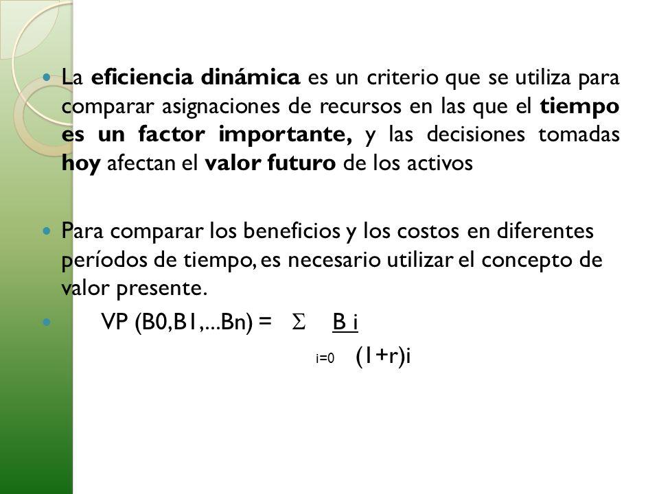 La eficiencia dinámica es un criterio que se utiliza para comparar asignaciones de recursos en las que el tiempo es un factor importante, y las decisi