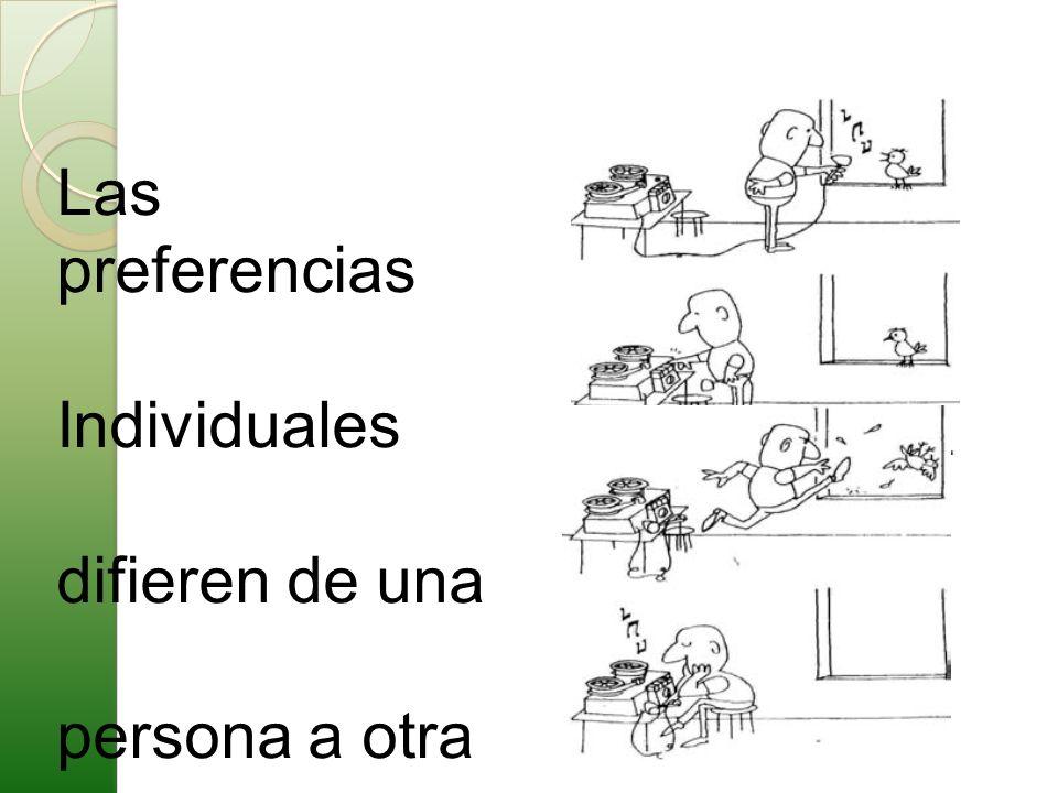 Las preferencias Individuales difieren de una persona a otra