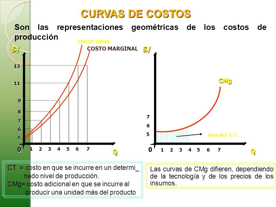 S/ Q 0 CMg S/ Q 012345 5 6 7 8 9 COSTO TOTAL COSTO MARGINAL 11 13 67 5 6 7 1234 67 5 área del C.T. CURVAS DE COSTOS Son las representaciones geométric