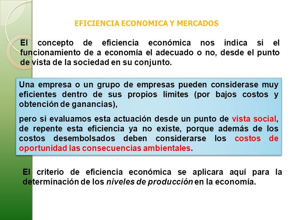 EFICIENCIA ECONOMICA Y MERCADOS El concepto de eficiencia económica nos indica si el funcionamiento de a economía el adecuado o no, desde el punto de