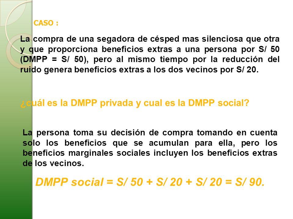 CASO : La compra de una segadora de césped mas silenciosa que otra y que proporciona beneficios extras a una persona por S/ 50 (DMPP = S/ 50), pero al