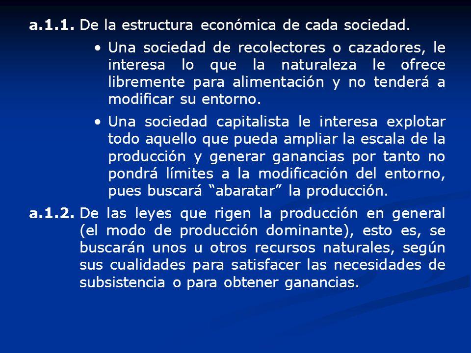 a.1.1.De la estructura económica de cada sociedad. Una sociedad de recolectores o cazadores, le interesa lo que la naturaleza le ofrece libremente par