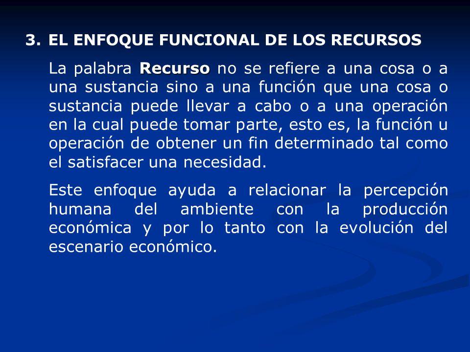 3.EL ENFOQUE FUNCIONAL DE LOS RECURSOS Recurso La palabra Recurso no se refiere a una cosa o a una sustancia sino a una función que una cosa o sustanc