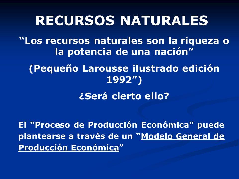 RECURSOS NATURALES Los recursos naturales son la riqueza o la potencia de una nación (Pequeño Larousse ilustrado edición 1992) ¿Será cierto ello? El P