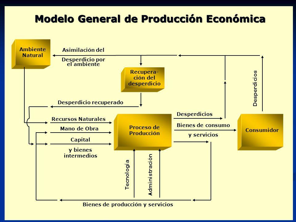 Ambiente Natural Proceso de Producción Consumidor Bienes de consumo y servicios Desperdicios Tecnología Desperdicios Administración Asimilación del De