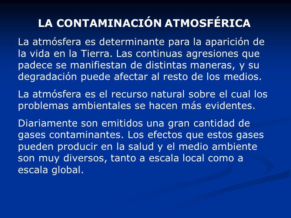 LA CONTAMINACIÓN ATMOSFÉRICA La atmósfera es determinante para la aparición de la vida en la Tierra. Las continuas agresiones que padece se manifiesta