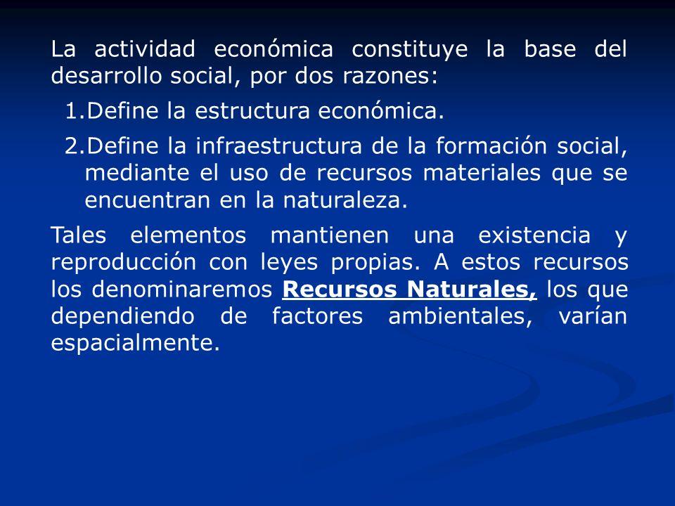 La actividad económica constituye la base del desarrollo social, por dos razones: 1.Define la estructura económica. 2.Define la infraestructura de la