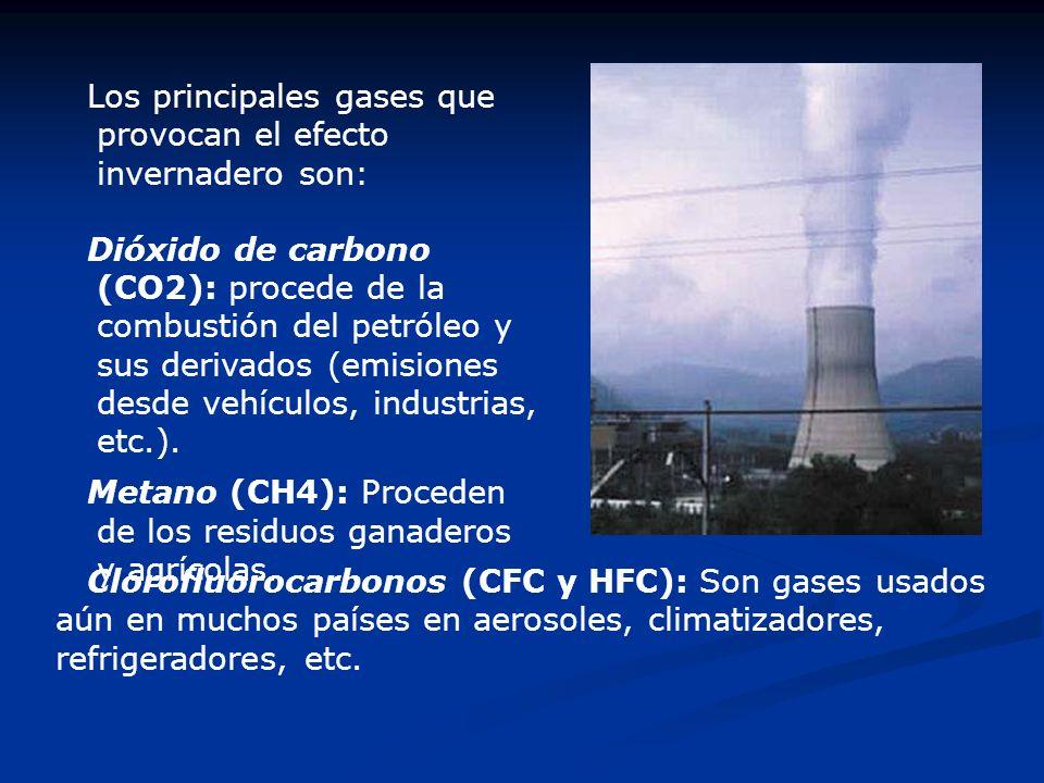 Los principales gases que provocan el efecto invernadero son: Dióxido de carbono (CO2): procede de la combustión del petróleo y sus derivados (emision