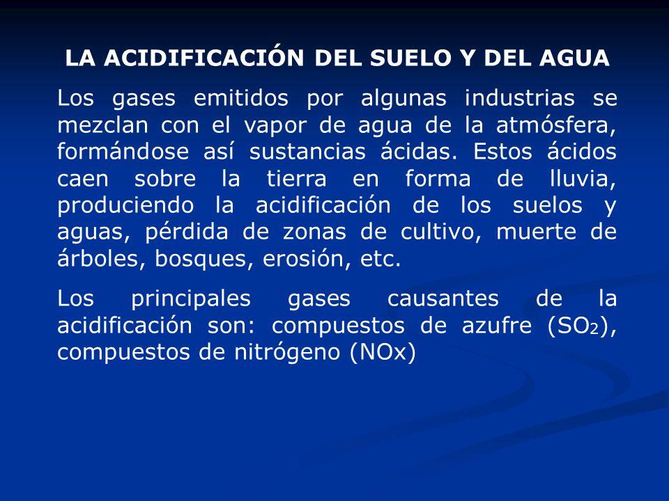 LA ACIDIFICACIÓN DEL SUELO Y DEL AGUA Los gases emitidos por algunas industrias se mezclan con el vapor de agua de la atmósfera, formándose así sustan