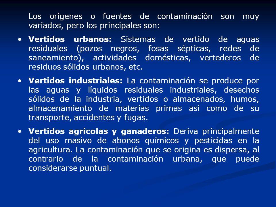 Los orígenes o fuentes de contaminación son muy variados, pero los principales son: Vertidos urbanos: Sistemas de vertido de aguas residuales (pozos n