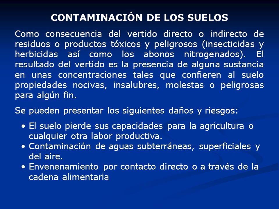 CONTAMINACIÓN DE LOS SUELOS Como consecuencia del vertido directo o indirecto de residuos o productos tóxicos y peligrosos (insecticidas y herbicidas