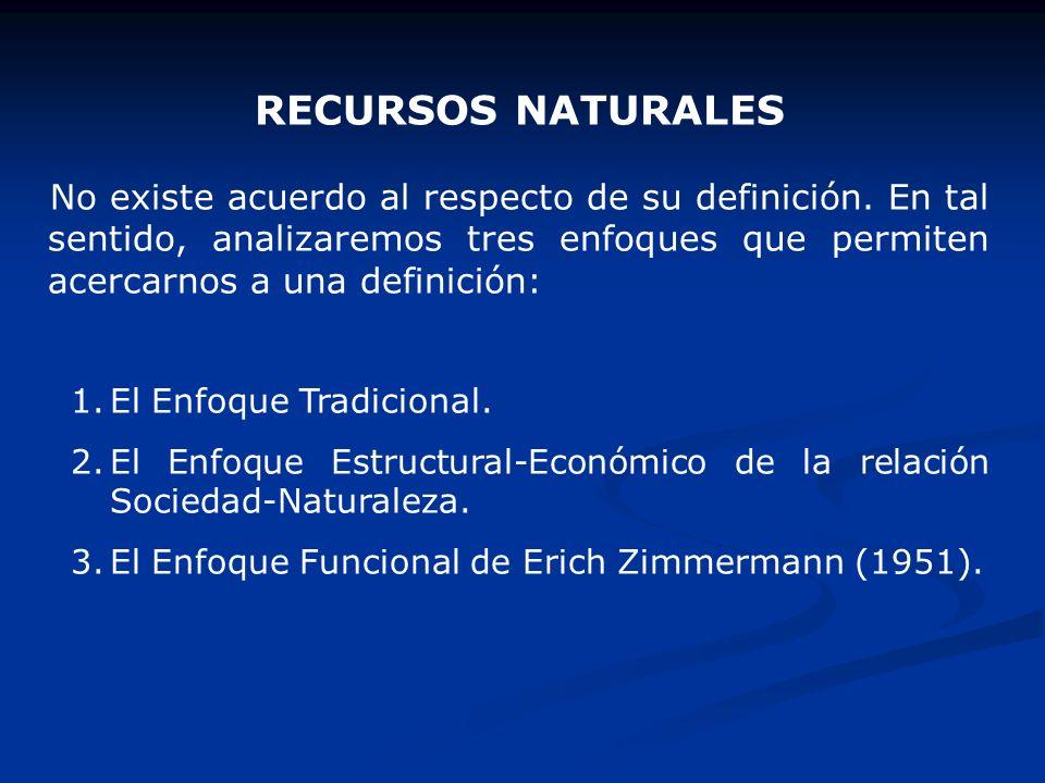 RECURSOS NATURALES No existe acuerdo al respecto de su definición. En tal sentido, analizaremos tres enfoques que permiten acercarnos a una definición