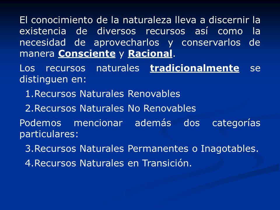 El conocimiento de la naturaleza lleva a discernir la existencia de diversos recursos así como la necesidad de aprovecharlos y conservarlos de manera