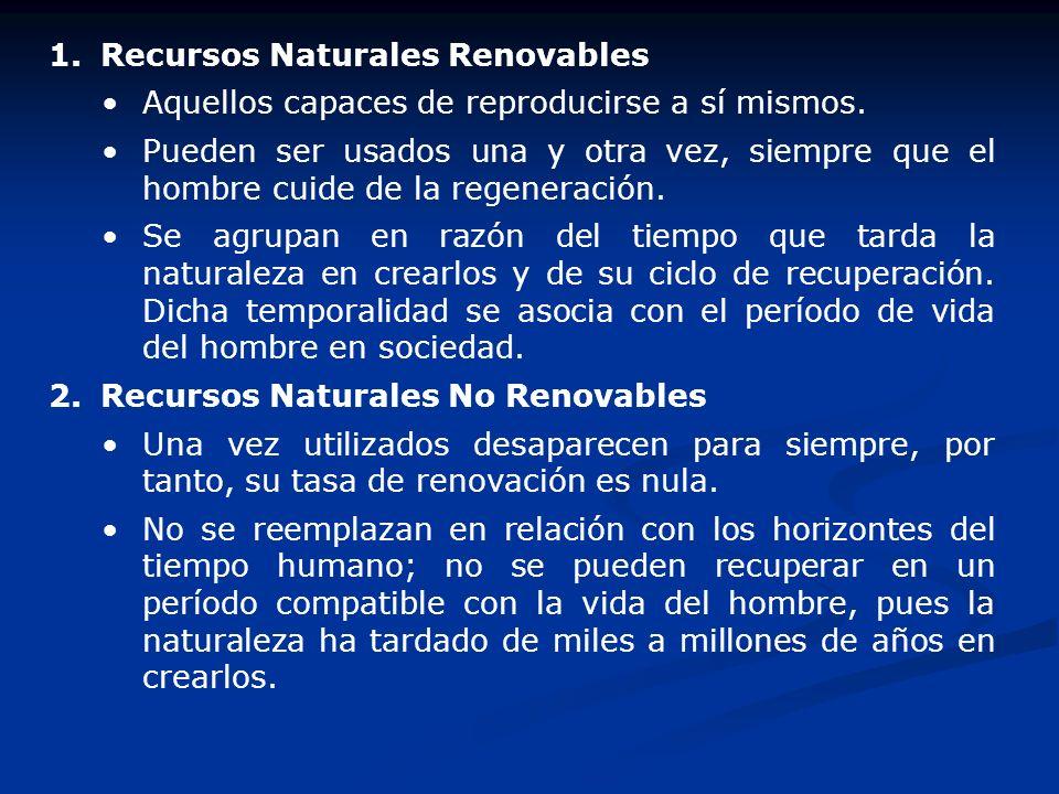 1.Recursos Naturales Renovables Aquellos capaces de reproducirse a sí mismos. Pueden ser usados una y otra vez, siempre que el hombre cuide de la rege