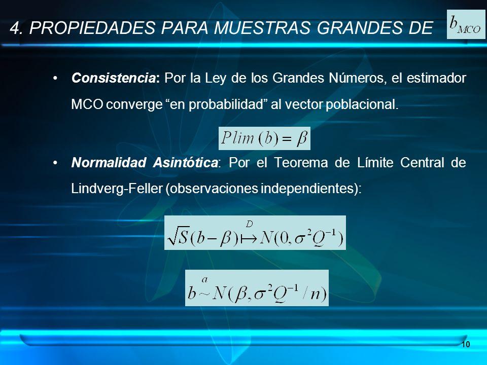 10 Consistencia: Por la Ley de los Grandes Números, el estimador MCO converge en probabilidad al vector poblacional. Normalidad Asintótica: Por el Teo
