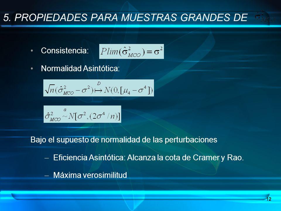 12 5. PROPIEDADES PARA MUESTRAS GRANDES DE Consistencia: Normalidad Asintótica: Bajo el supuesto de normalidad de las perturbaciones –Eficiencia Asint