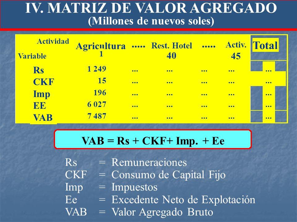 IV. MATRIZ DE VALOR AGREGADO (Millones de nuevos soles) Rs= Remuneraciones CKF= Consumo de Capital Fijo Imp=Impuestos Ee=Excedente Neto de Explotación