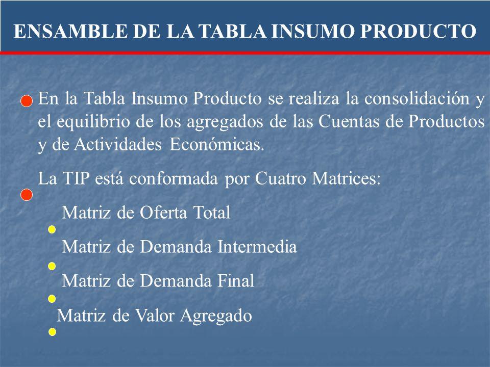 En la Tabla Insumo Producto se realiza la consolidación y el equilibrio de los agregados de las Cuentas de Productos y de Actividades Económicas. La T