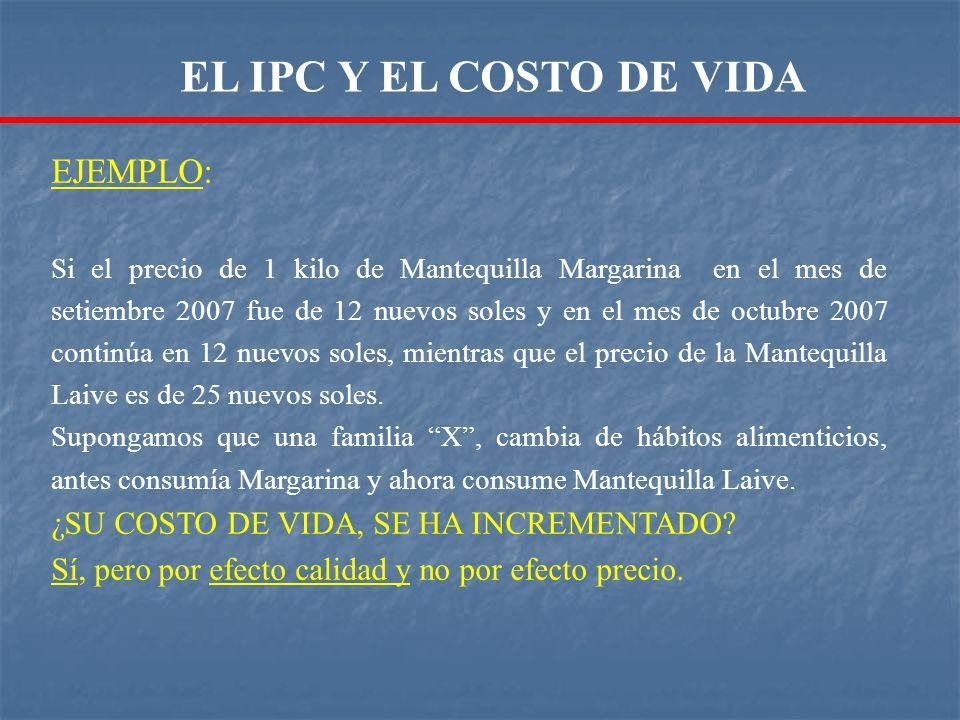 EJEMPLO: Si el precio de 1 kilo de Mantequilla Margarina en el mes de setiembre 2007 fue de 12 nuevos soles y en el mes de octubre 2007 continúa en 12