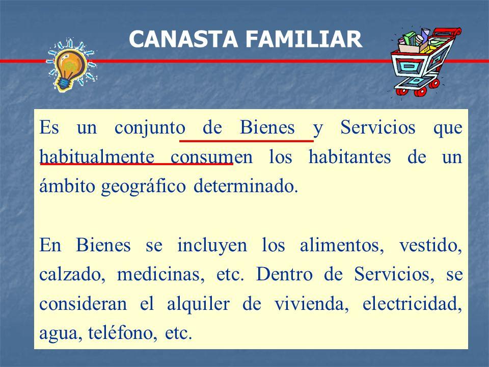 Es un conjunto de Bienes y Servicios que habitualmente consumen los habitantes de un ámbito geográfico determinado. En Bienes se incluyen los alimento