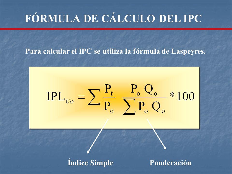 Índice Simple Ponderación Para calcular el IPC se utiliza la fórmula de Laspeyres. FÓRMULA DE CÁLCULO DEL IPC