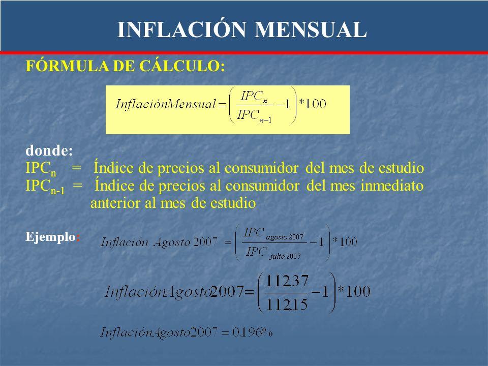 FÓRMULA DE CÁLCULO: donde: IPC n = Índice de precios al consumidor del mes de estudio IPC n-1 = Índice de precios al consumidor del mes inmediato ante