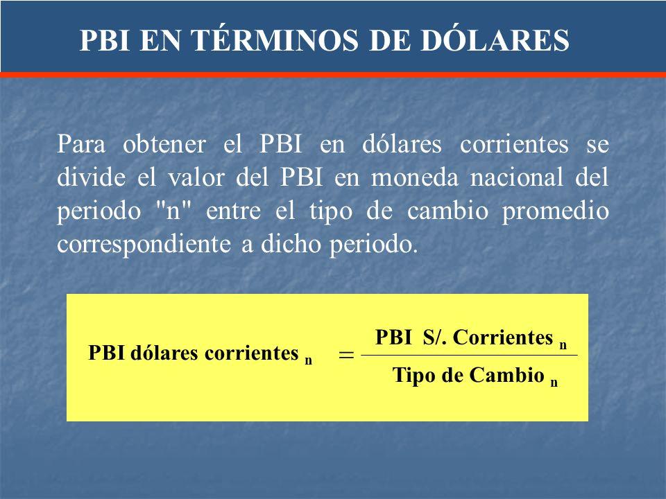 Para obtener el PBI en dólares corrientes se divide el valor del PBI en moneda nacional del periodo