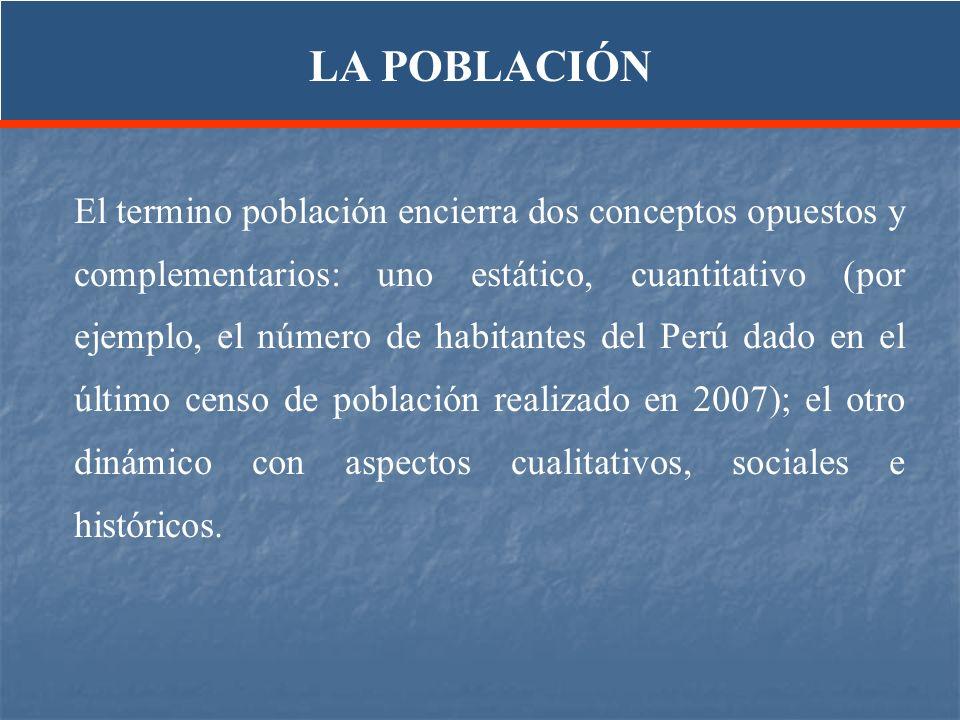 El termino población encierra dos conceptos opuestos y complementarios: uno estático, cuantitativo (por ejemplo, el número de habitantes del Perú dado