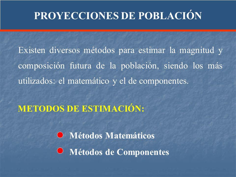 Existen diversos métodos para estimar la magnitud y composición futura de la población, siendo los más utilizados: el matemático y el de componentes.