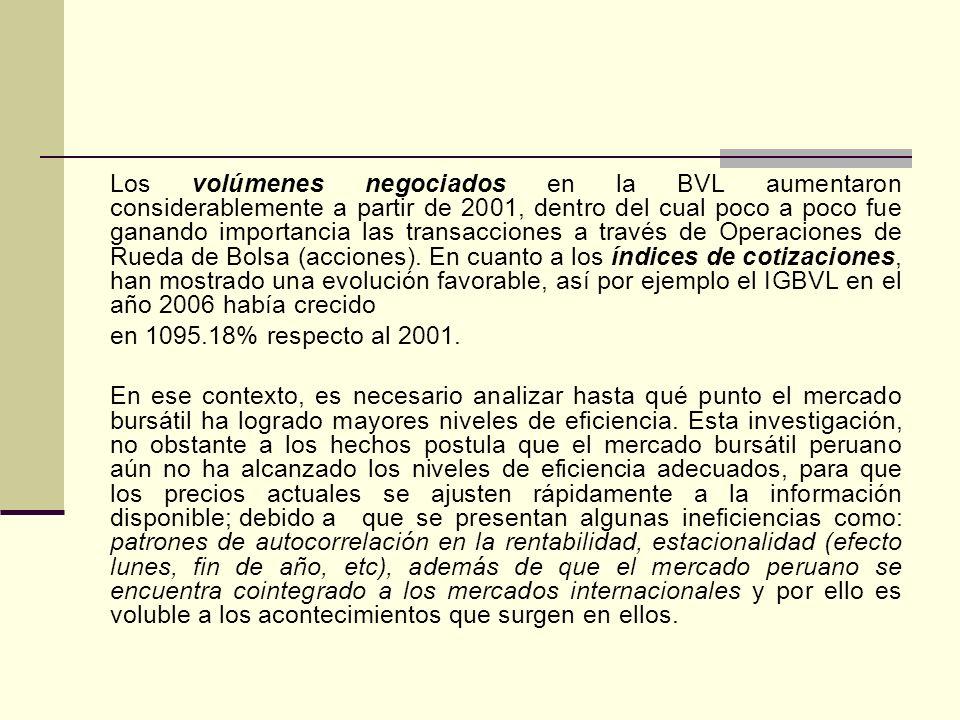 Los volúmenes negociados en la BVL aumentaron considerablemente a partir de 2001, dentro del cual poco a poco fue ganando importancia las transacciones a través de Operaciones de Rueda de Bolsa (acciones).