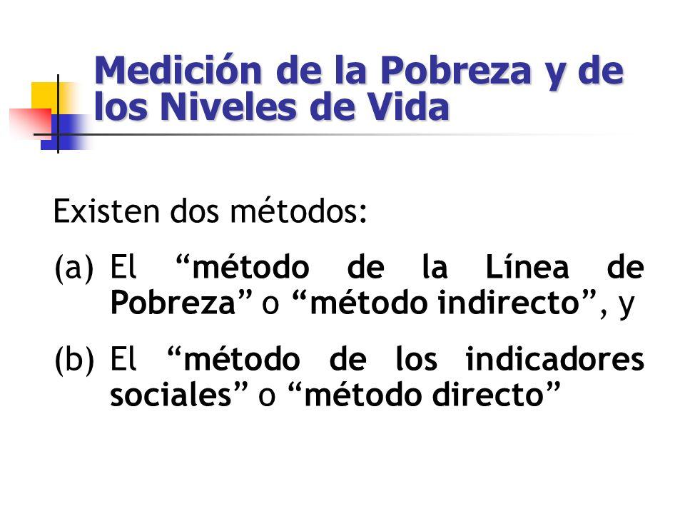 Método de las Líneas de Pobreza El método indirecto clasifica como pobres aquellas personas que no cuenten con los recursos suficientes para satisfacer sus necesidades básicas.