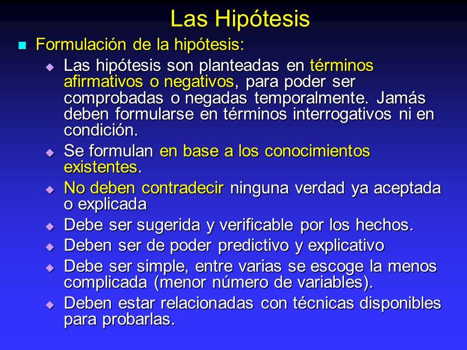 Formulación de la hipótesis: Formulación de la hipótesis: Las hipótesis son planteadas en términos afirmativos o negativos, para poder ser comprobadas